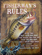 plaque métal vintage FISHERMAN'S RULES - TOFMOBILE