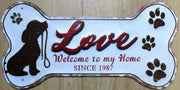 PLAQUE METAL vintage LOVE welcome to my home - TOFMOBILE