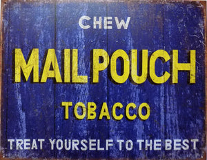PLAQUE METAL vintage MAIL POUCH TOBACCO - TOFMOBILE