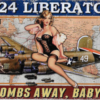 plaque métal vintage AVION B-24 LIBERATOR PIN UP - TOFMOBILE