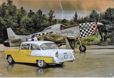 plaque métal vintage AVION P-51 + CHEVY 55 - TOFMOBILE