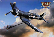 plaque métal vintage AVION F4U CORSAIR - TOFMOBILE