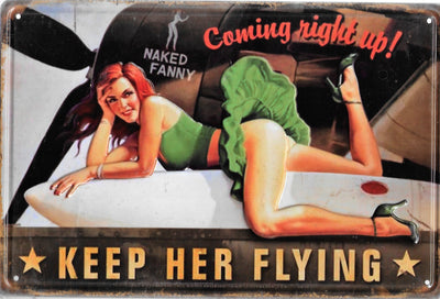plaque métal vintage PIN UP KEEP HER FLYING - TOFMOBILE