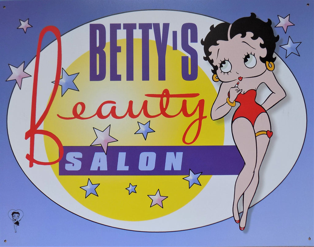 PLAQUE METAL vintage BETTY BOOP BEAUTY SALON - TOFMOBILE