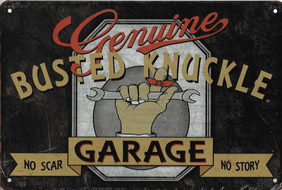 plaque métal vintage BUSTED KNUCKLE GARAGE - TOFMOBILE