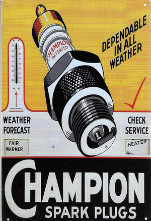 plaque métal vintage CHAMPION SPARK PLUGS - TOFMOBILE