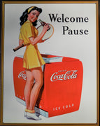 plaque métal vintage COCA COLA PIN UP WELCOME PAUSE - TOFMOBILE