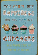 plaque métal vintage HAPPINESS CUPCAKES - TOFMOBILE
