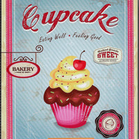plaque métal vintage CUPCAKE DAILY FRESH - TOFMOBILE