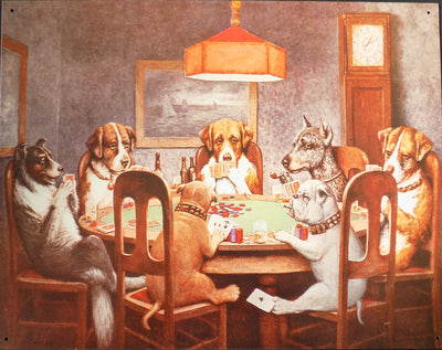 plaque métal vintage DOGS PLAYING POKER - TOFMOBILE