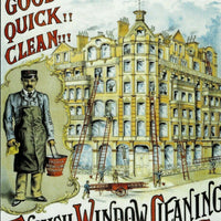 plaque métal vintage ENGLISH WINDOW CLEANING