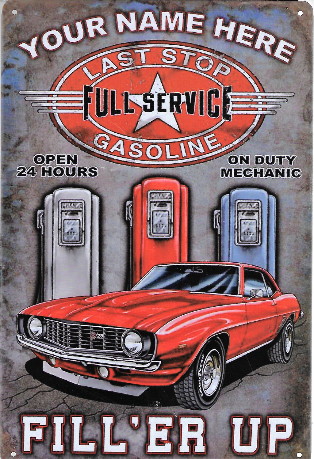 plaque métal vintage FILL ER UP GASOLINE - TOFMOBILE