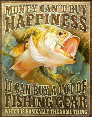 plaque métal vintage FISHING HAPPINESS - TOFMOBILE