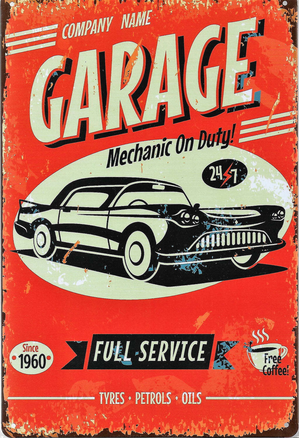 plaque métal vintage GARAGE FULL SERVICE - TOFMOBILE