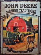 plaque métal vintage JOHN DEERE FARMING TRADITIONS