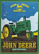 plaque métal vintage JOHN DEERE MADE WITH PRIDE