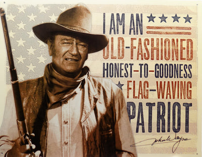 PLAQUE METAL  vintage JOHN WAYNE PATRIOT