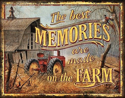 plaque métal vintage BEST MEMORIES on the FARM