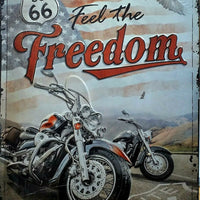 PLAQUE METAL vintage ROUTE 66 feel the freedom