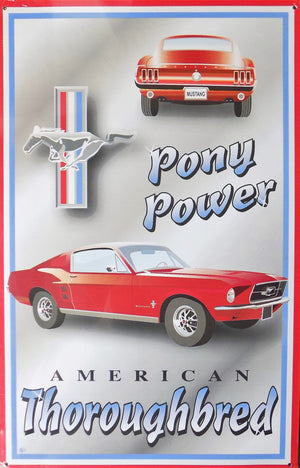plaque métal vintage FORD MUSTANG PONY POWER - TOFMOBILE