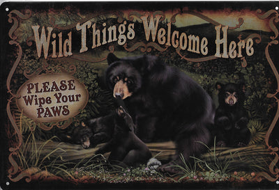 plaque métal vintage WILD THINGS WELCOME HERE - TOFMOBILE