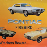 plaque métal vintage PONTIAC FIREBIRD Bird Watchers Beware - TOFMOBILE