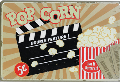 plaque métal vintage POP CORN - TOFMOBILE