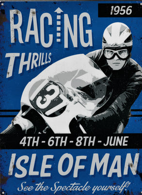 plaque métal vintage RACING THRILLS ISLE OF MAN 1956