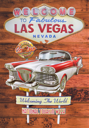 plaque métal vintage WELCOME LAS VEGAS CASINO