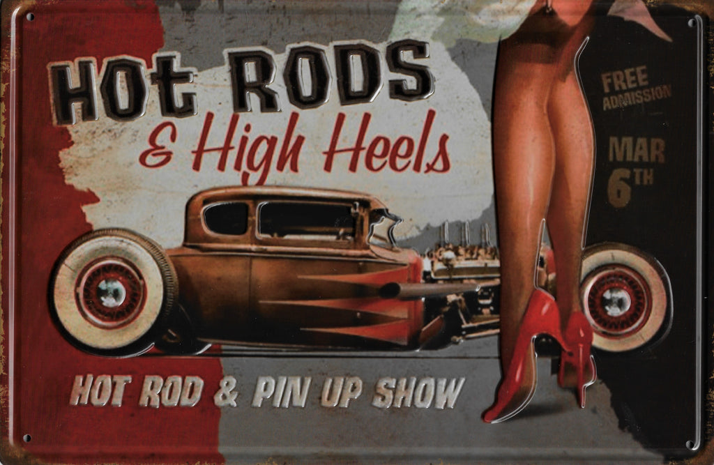 plaque métal vintage HOT RODS & HIGH HEELS