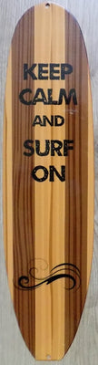 plaque métal vintage KEEP CALM and SURF ON