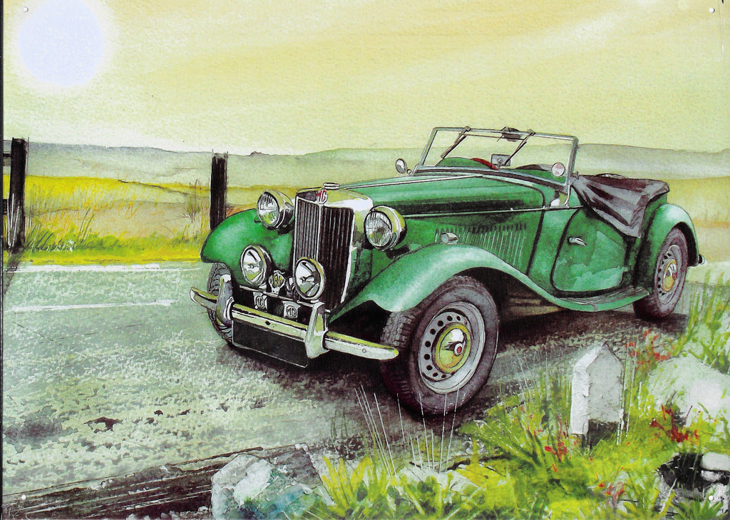 plaque métal  vintage MG MGTD GREEN