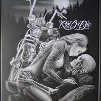 PLAQUE METAL vintage BIKER RIDE OR DIE - TOFMOBILE