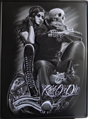 PLAQUE METAL vintage RIDE OR DIE - TOFMOBILE