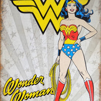 PLAQUE METAL vintage WONDER WOMAN HEROIC