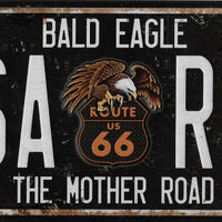 plaque métal vintage ROUTE 66 BALD EAGLE - TOFMOBILE