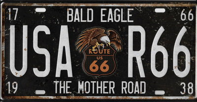 plaque métal vintage ROUTE 66 BALD EAGLE - 30 x 15 cm - TOFMOBILE
