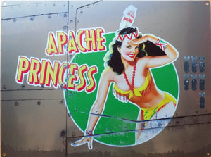 PLAQUE METAL vintage PIN UP APACHE PRINCESS bombardier - TOFMOBILE