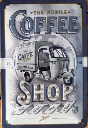 plaque métal vintage COFFEE SHOP APE - TOFMOBILE