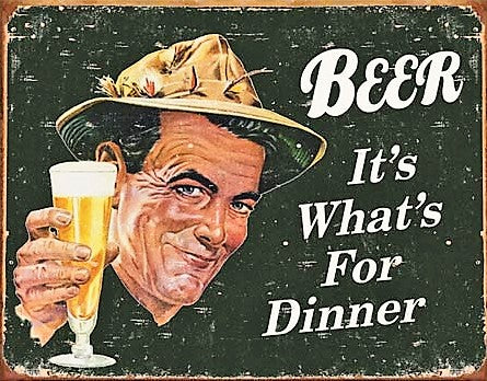 plaque métal vintage BEER it's what's for DINNER - TOFMOBILE