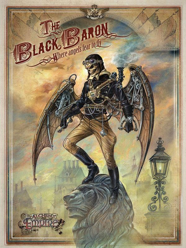 PLAQUE METAL vintage ALCHEMY steampunk THE BLACK BARON - TOFMOBILE