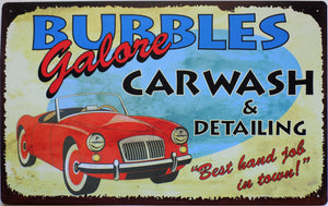 plaque métal vintage BUBBLES CAR WASH - TOFMOBILE