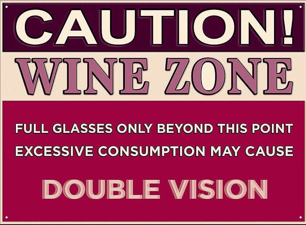 plaque métal vintage CAUTION WINE ZONE - TOFMOBILE