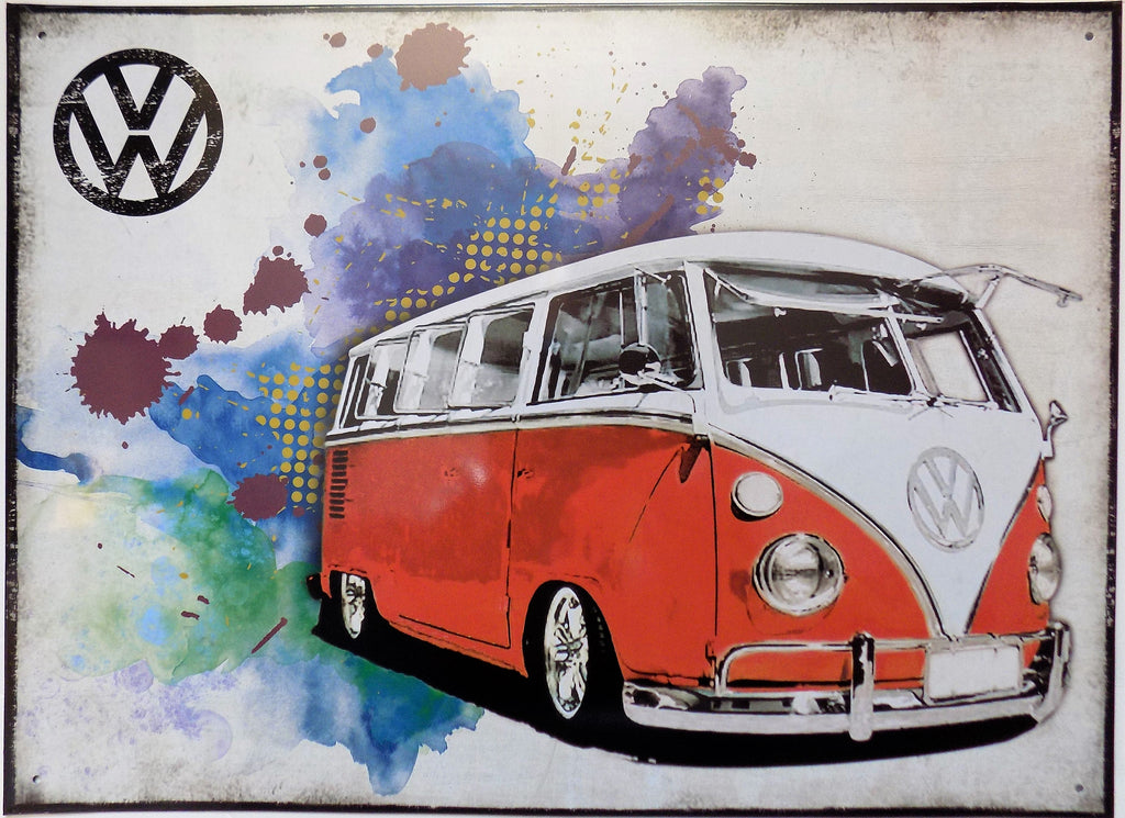 plaque métal vintage VOLKSWAGEN VW COMBI RED - TOFMOBILE