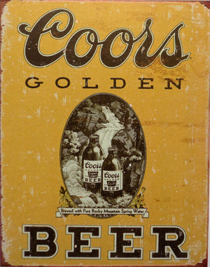 plaque métal vintage COORS GOLDEN BEER - TOFMOBILE