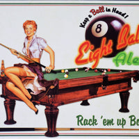 plaque métal vintage PIN UP EIGHT BALL - TOFMOBILE