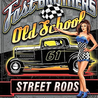 plaque métal vintage FAST BROTHERS OLD SCHOOL STREET RODS - 40 x 30 cm - TOFMOBILE