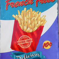 PLAQUE METAL vintage FRENCH FRIES - TOFMOBILE