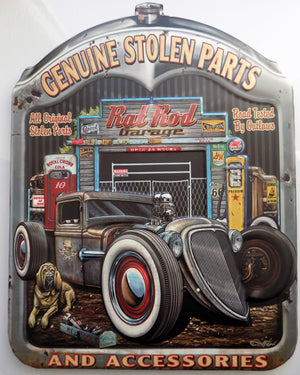 plaque vintage GENUINE STOLEN PARTS RAT ROD - TOFMOBILE