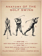 PLAQUE METAL  vintage GOLF SWING - TOFMOBILE
